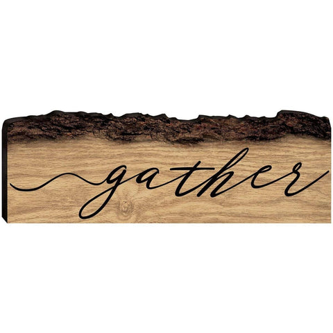 Engraved Barky Wood Plaque - Family Gather