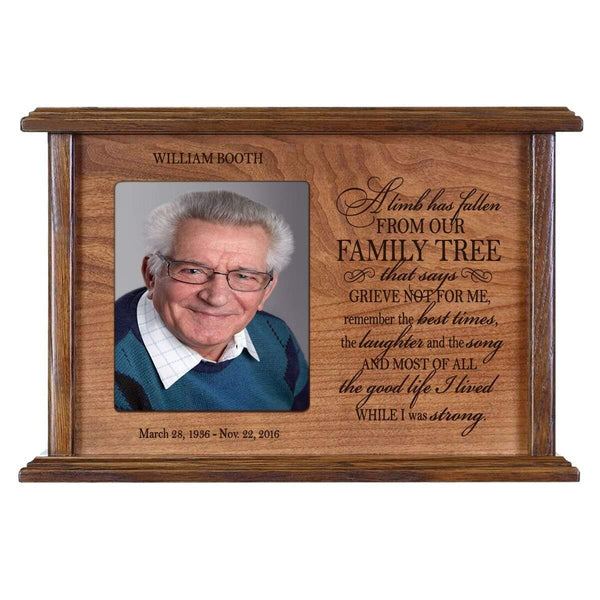 Personalized Engraved Photo Cremation Urn - Limb Has Fallen From Our Family Tree (Quarter Sawn Oak)