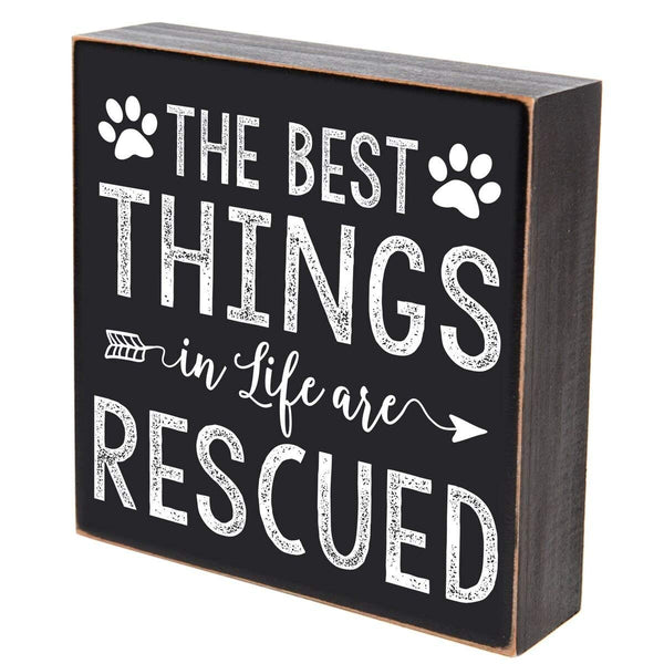LifeSong Milestones The Best Things in Life are Rescued loss of pet dog cat memorial gift keepsake shadow box 6x6 by (The Best Things)