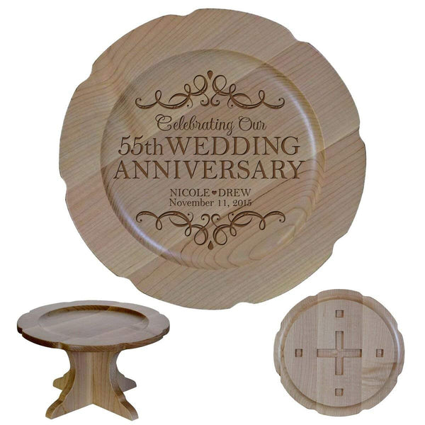 "Personalized 55th Wedding Anniversary Maple Cake Stand Gift for Her, Happy 55 Year Anniversary for Him 10"" Custom Engraved for Husband or Wife by LifeSong Milestones (55th Year with Hearts)"