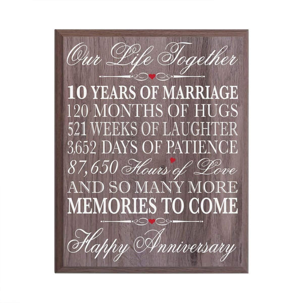 LifeSong Milestones 10th Wedding Anniversary Wall Plaque Gifts for Couple, 10th Anniversary Gifts for Her,10th Wedding Anniversary Gifts for Him 12 Inches Wide X 15 Inches Plaque By (Salt oak)