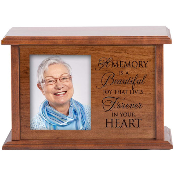 "Cremation Urn for Humans Holds 4x5 Photo Verse "" A Memory Is Beautiful Joy "" Medium Cherry Finish"