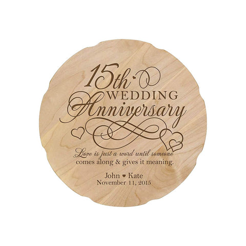 Personalized Wedding Anniversary Engraved Maple Platter 15th Anniversary