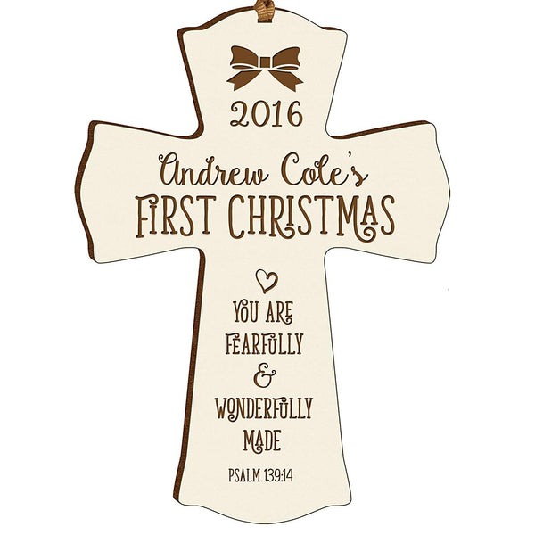 Personalized Baby's First Christmas Ornament cross New Parent gift ideas for newborn boys and girls Custom engraved ornament for mom dad and grandparents (Ivory Fearfully and wonderfully made)