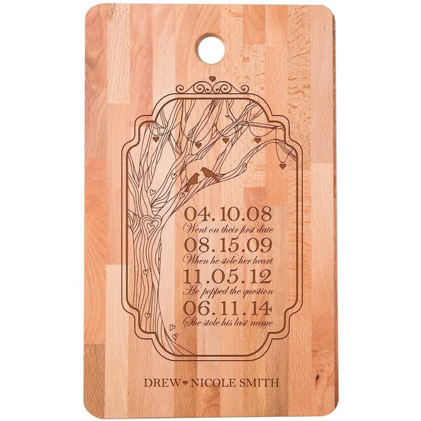 "Personalized bamboo Cutting Board First date popped the question Stole last name for bride and groom Wedding Anniversary Gift Ideas for Him, Her, Couples Established Dates to Remember 11""w x 18""h"