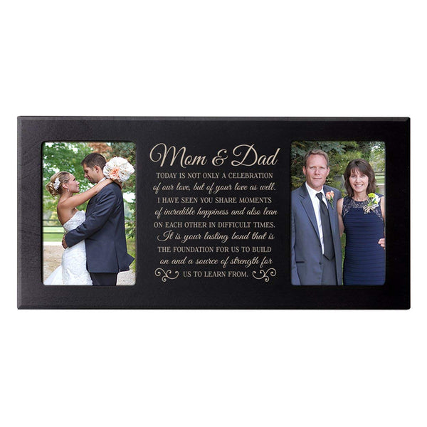 "Wedding Gift, Personalized wedding picture frame gift for Bride and Groom, Personalized wedding gift for parents, Mom and Dad thank-you gift"" Exclusively from LifeSong Milestones (Black)"