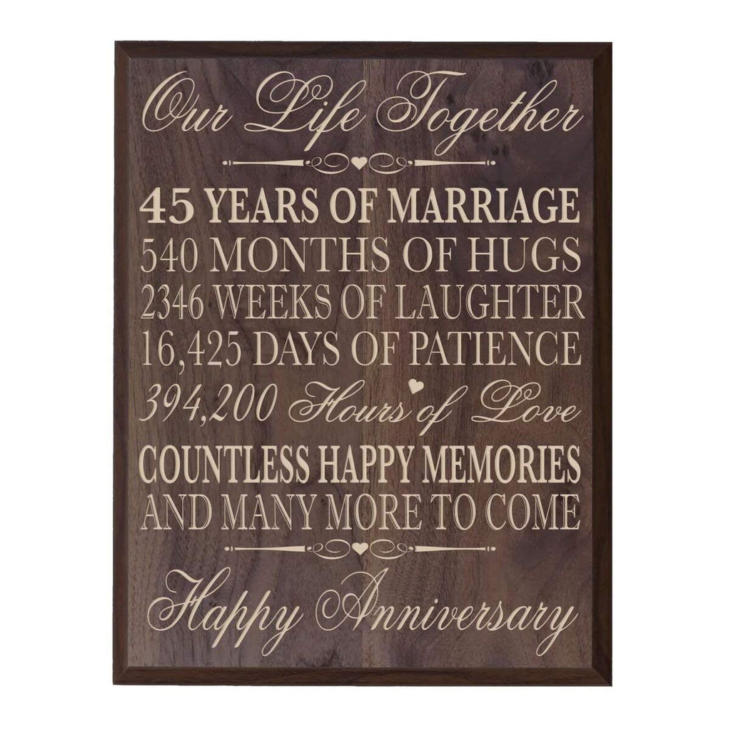 Gift For Couple On Wedding: 45th Wedding Anniversary Wall Plaque Our Life Together