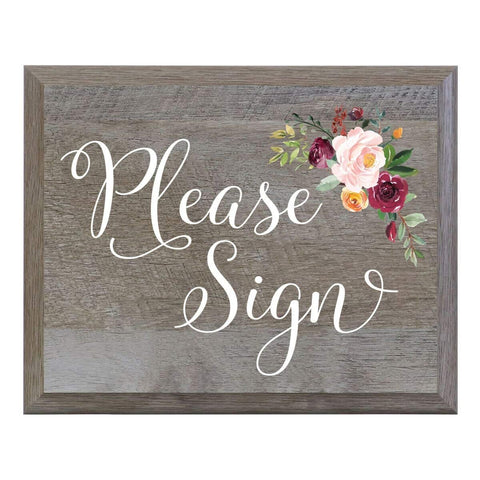 Barn Wood Wedding Party Sign Plaque - Please Sign