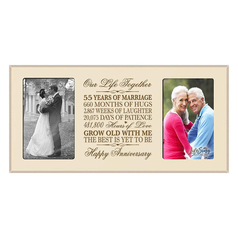 LifeSong Milestones 55th Wedding Anniversary Picture frame Gift with anniversary dates holds 2 4x6 photos