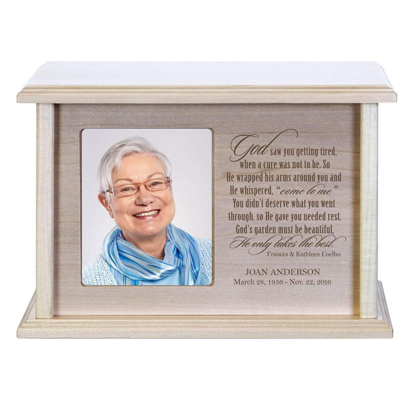 Cremation Urn for Human Ashes Made of Solid Maple Wood Laser Engraved Verse God Saw You Getting Tired By LifeSong Milestones (Maple)