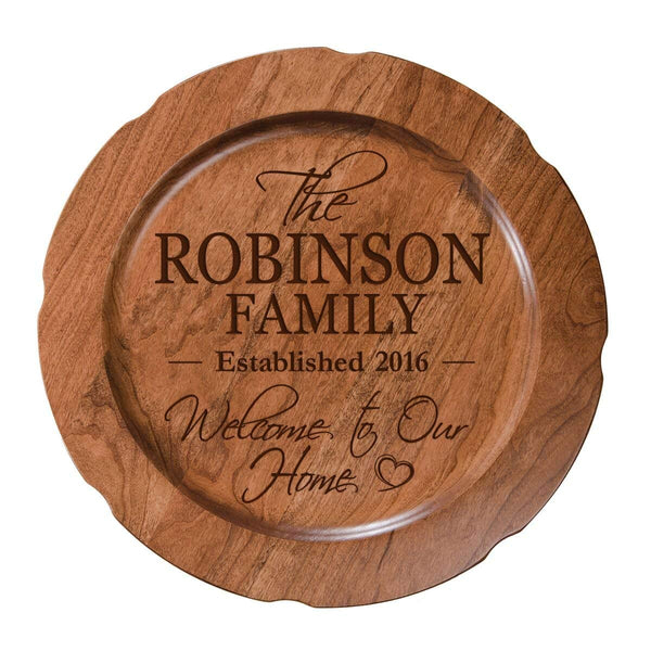 "Personalized Welcome to Our Home Wedding Anniversary Gift for Her, Happy Anniversary for Him, 12"" plate Custom Engraved for Husband or Wife by Dayspring Milestones USA Made"