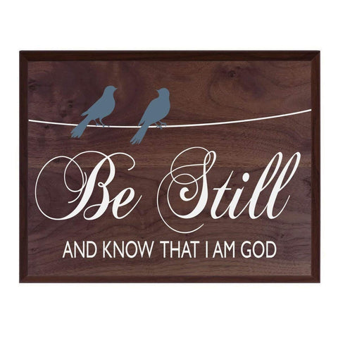 Be Still and Know That I am God With Bird Silhouettes Family wedding anniversary Housewarming Gift New Home Christian gift ideas 12 Inches w X 15 Inches by LifeSong Milestones (Barnwood)