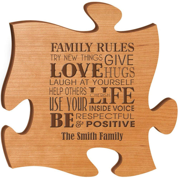 Personalized Custom Engraved Family Puzzle Sign - Family Rules Try New Things Love Give Hugs