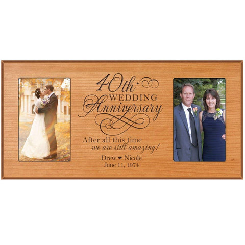 40th Anniversary Gift Personalized 40th wedding anniversary picture frame Celebrating Our 40th wedding anniversary with Couples names and anniversary dates