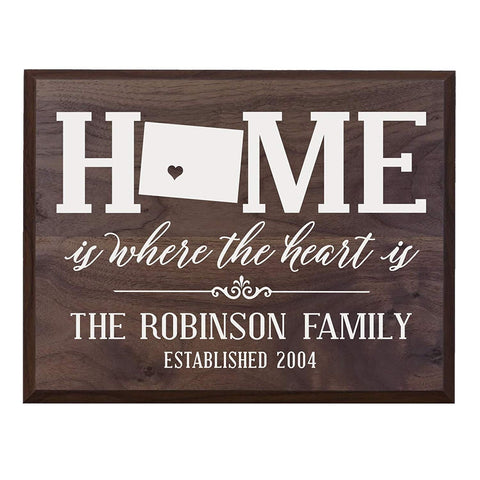 Personalized Wyoming State Home is Where the heart is Wall Sign