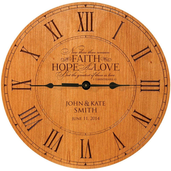 "Wedding Clock or Anniversary Clock, wedding gift, anniversary gift, housewarming gift "" Now these three remain, FAITH, HOPE, LOVE, But the greatest of these is love. 1 Cor. 13"