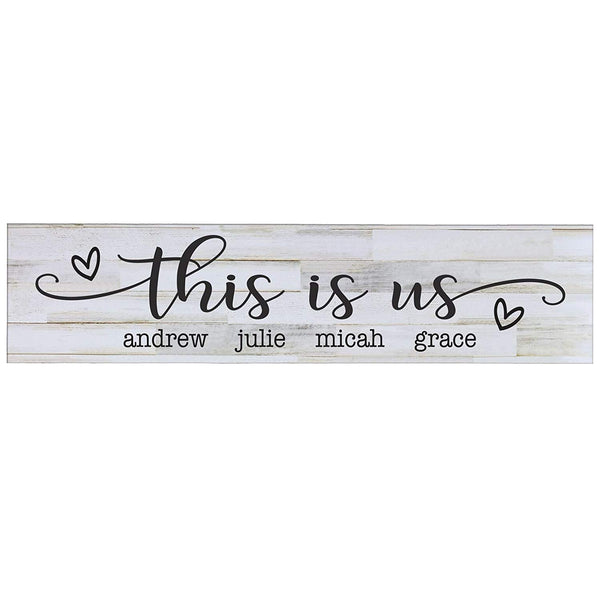 "LifeSong Milestones This Is Us Personalized Family Established Wall Signs, Last Name sign for home, Wedding, Anniversary, Living Room, Entryway 10"" H x 40"" L (Distressed White)"