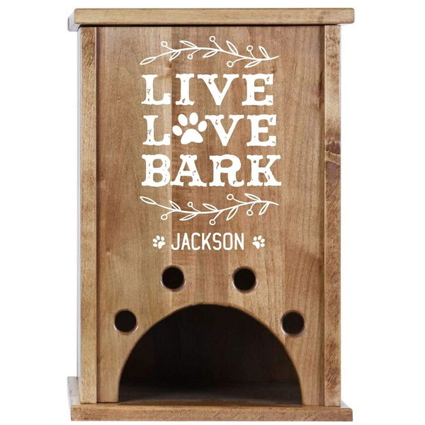 Personalized Live, Love, Bark Custom Digital Pine Pet Toy Box Storage Organizer, Birthday gift for Dogs, Daughter, Sons, Boys and Girls, Grandchildren, Made in USA By Rooms Organized