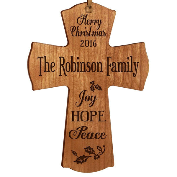 Personalized Christmas Cross Decor - Joy Hope Peace Cherry