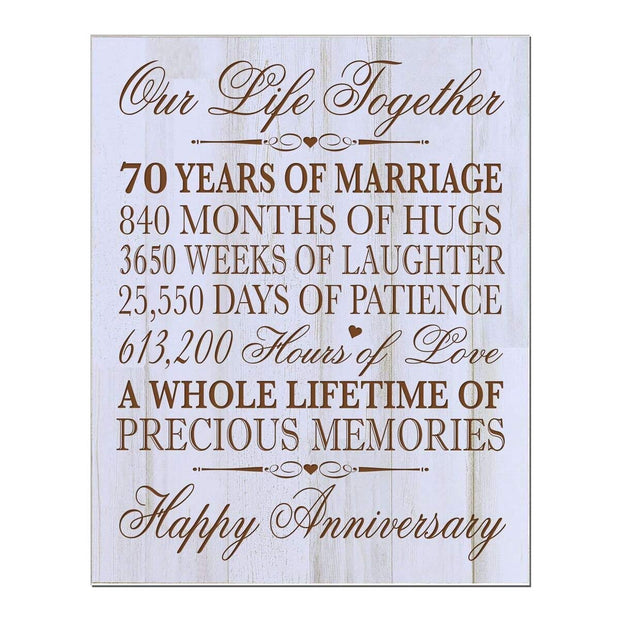 70 seventy year anniversary marriage wood wooden wall plaque