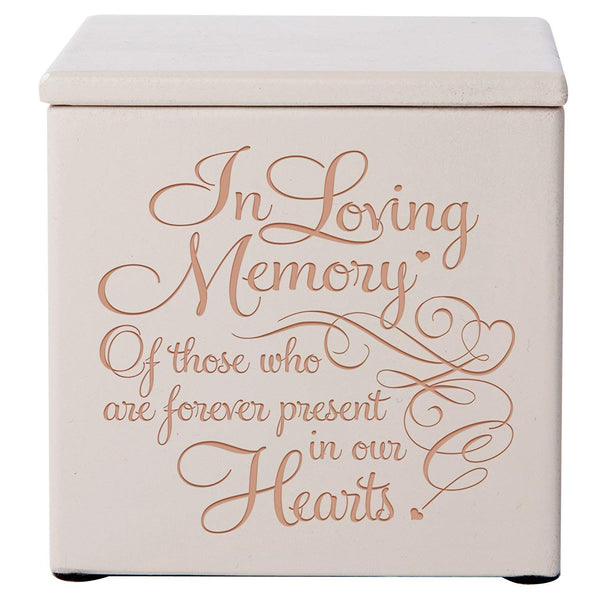 Cremation Urns for Humans- Funeral Urn SMALL Keepsake box for Pets - Memorial Gift for home or Columbarium In Loving Memory of those who are forever present in our hearts DaySpring Premier (Ivory)