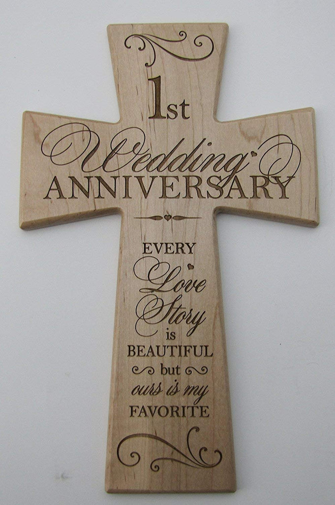 1st Wedding Anniversary Maple Wood Wall Cross Gift For Couple 1