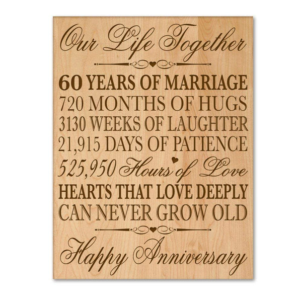 "60th Wedding Anniversary Wall Plaque Gifts for Couple, 60th Anniversary Gifts for Her,60th Wedding Anniversary Gifts for Him 12"" W X 16"" H Wall Plaque By LifeSong Milestones"