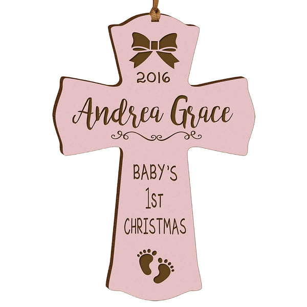 Personalized Baby's First Christmas Ornament cross New Parent gift ideas for newborn boys and girls Custom engraved ornament for mom dad and grandparents (Pink Baby's first Christmas)