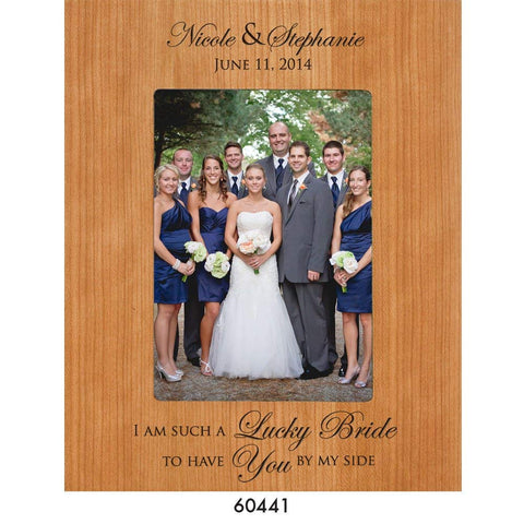 Bridesmaid picture frame Wedding Party Gifts Personalized bridesmaids Gift I am such a luck bride to have you by my side Holds 5 x 7 Photo