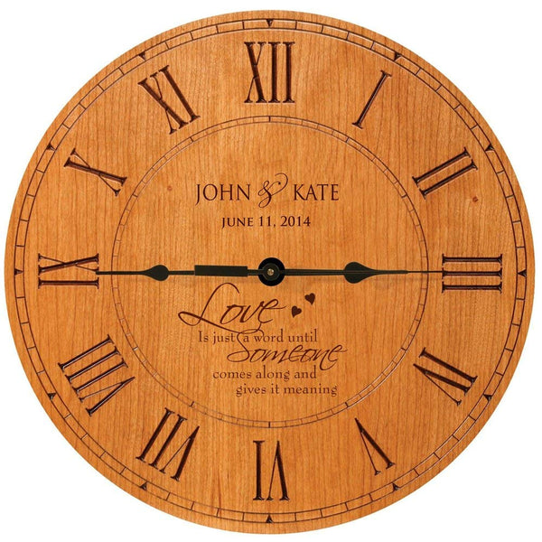 "Personalized Wedding Clock "" Love is just a word until Someone comes along and give it meaning"""