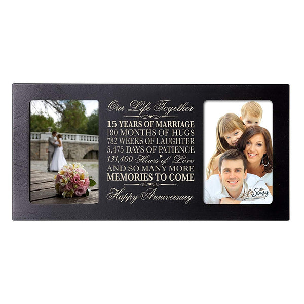 LifeSong Milestones 15th Wedding Anniversary Picture frame Gift with anniversary dates holds 2 4x6 photos