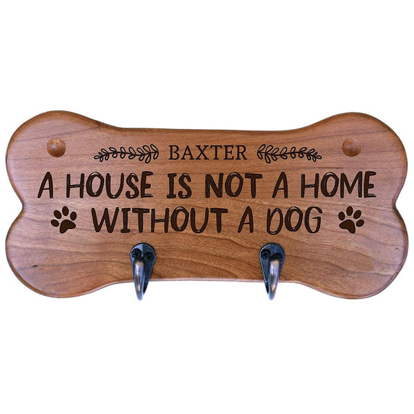 "Personalized Wall Mounted Small Cherry Dog Bone Pet Leash Rack,Dog Collar Holder New Home Decor Gift ideas and 2 hooks 11"" L x 5.25"" H 2.5"" deep by Rooms Organized"