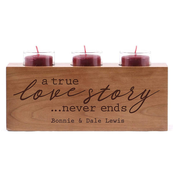 Engraved Cherry Candle Holder - A True Love Story