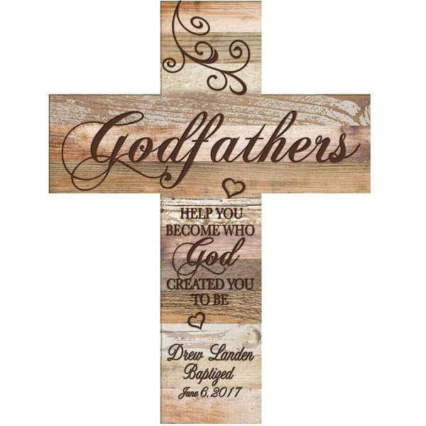 Personalized Godfather Gifts from Godchild Custom engraved decorative wall cross Godparents gift ideas 1st holy communion by LifeSong Milestones