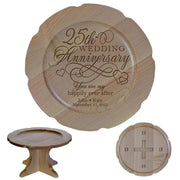 Personalized 25th Anniversary Maple Cake Stands Design 2