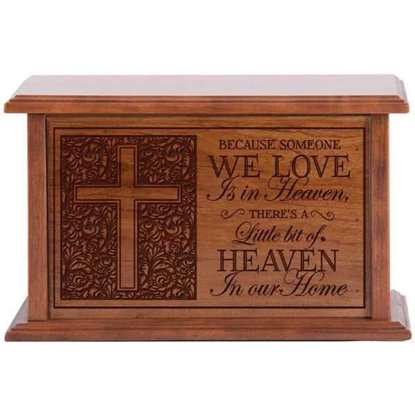 Cremation Urn for Human Ashes Made of Solid Cherry Wood Laser Engraved Verse Becasue Someone we love is in Heaven By LifeSong Milestones