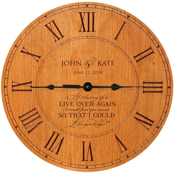 "LifeSong Milestones Personalized Wedding Anniversary Clock ""If I had to do over again I would find you sooner so that I could love you longer"""