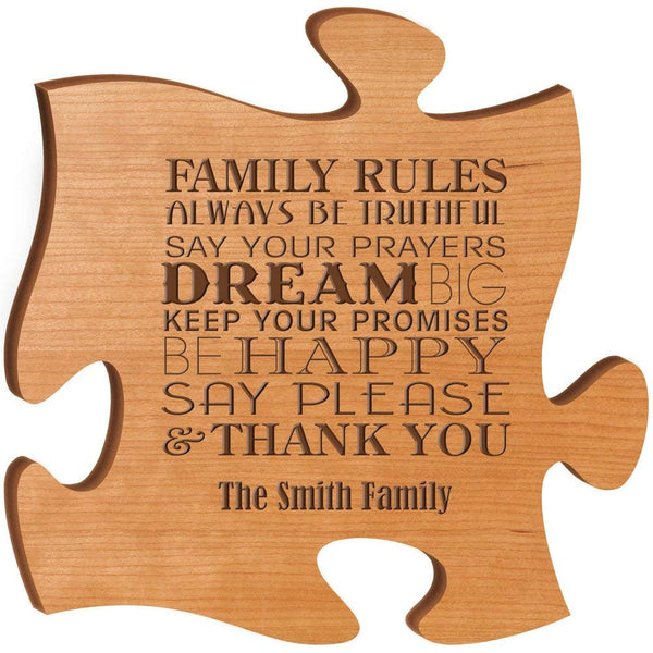 Personalized Custom Engraved Family Puzzle Sign - Family Rules Always Be Truthful Say Your Prayers