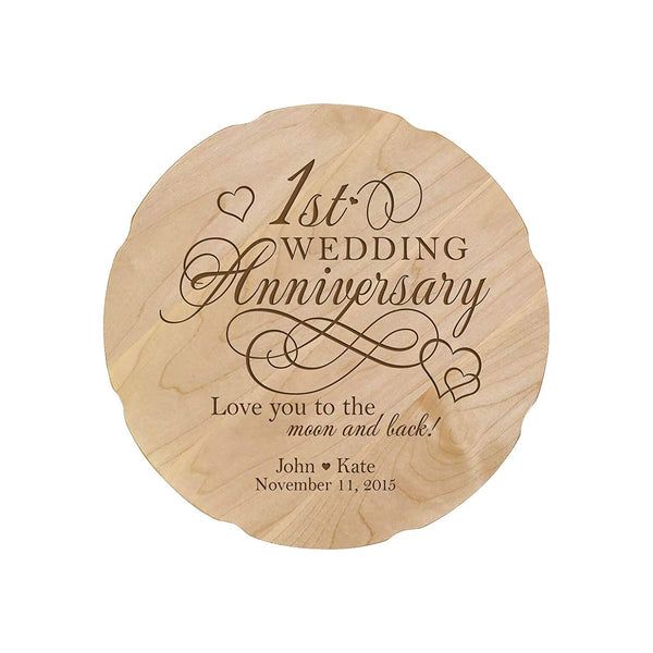 "Personalized Wedding Anniversary Platter Gift for Couple, Custom Happy Anniversary Gifts for Her 12"" D Custom Engraved for Husband or Wife USA Made"