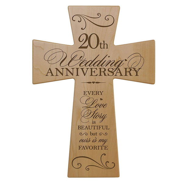 20th Wedding Anniversary Maple Wood Wall Cross