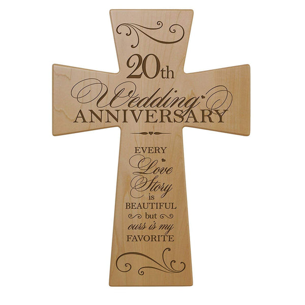 20th Wedding Anniversary Maple Wood Wall Cross Gift for Couple, 20 year Anniversary Gifts for Her, Twentieth Wedding Anniversary Gifts for Him (7x11)