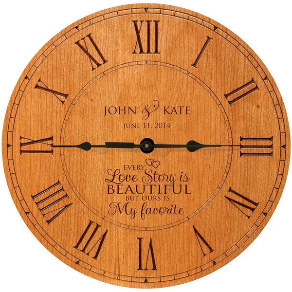 Large Modern Wall clock Custom Wedding anniversary housewarming gift for couple Every love story is beautiful but ours is my favorite