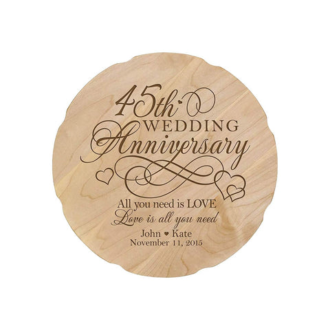 Personalized Wedding Anniversary Engraved Maple Platter 45th Anniversary