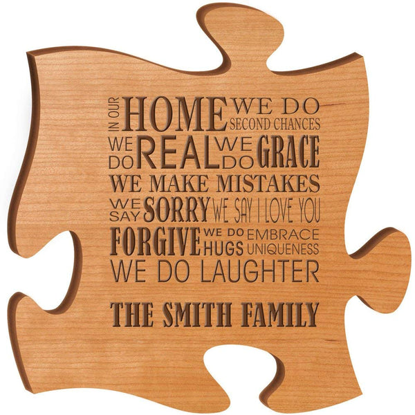 Personalized Custom Engraved Family Puzzle Sign - In Our Home We Do Second Chances We Do Real