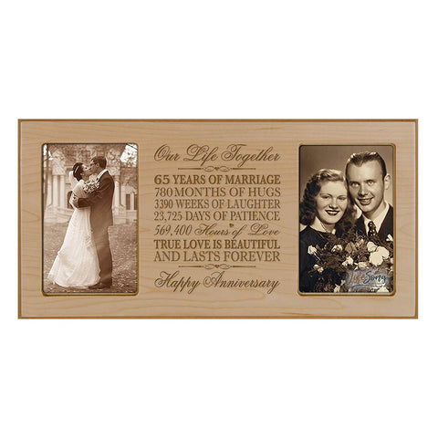 LifeSong Milestones 65th Wedding Anniversary Picture frame Gift with anniversary dates holds 2 4x6 photos