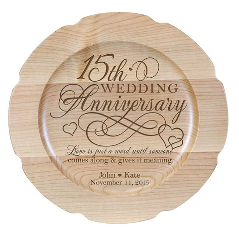 Personalized 15th Anniversary Maple Engraved Plates Design 2
