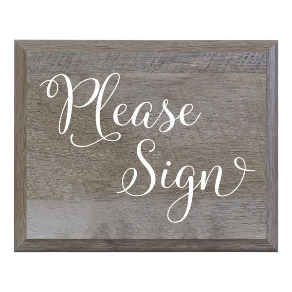 LifeSong Milestones Please Sign Decorative Wedding Party signs for Ceremony and Reception for Bride and Groom (8x10)