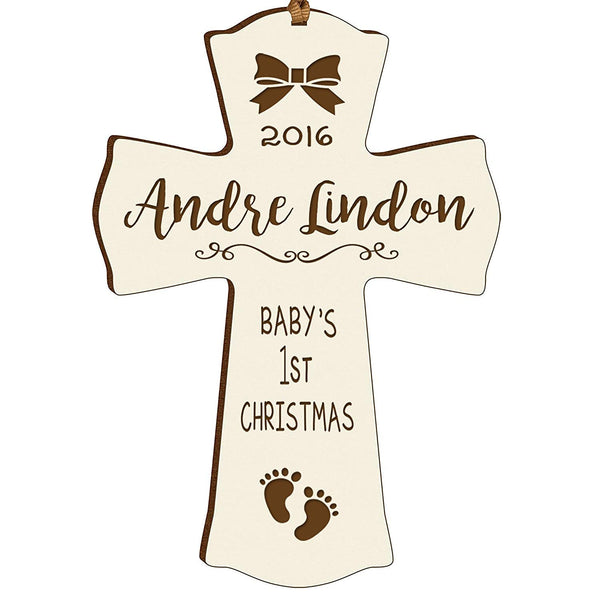 Personalized Baby's First Christmas Ornament cross New Parent gift ideas for newborn boys and girls Custom engraved ornament for mom dad and grandparents (Ivory Baby's first Christmas)