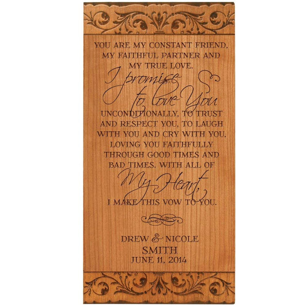 LifeSong Milestones Personalized Wedding Marriage Promise for Bride & Groom or Anniversary Couple