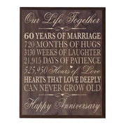 Digitally Printed 60th Anniversary Wall Decor Plaque - Our Life Grand Walnut